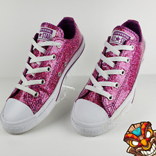 Converse All Star Low Trainer 662344C Icon Violet Glitter Juniors Girls Sz 2