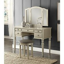 Mirrored Vanity Desk Makeup Stool Dressing Table Bedroom Drawer Jewelry Silver
