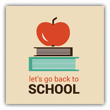 """Apple Book Let's Go Back To School Education Car Bumper Sticker Decal 5"""" x 5"""""""