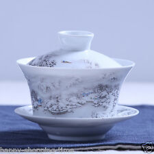 Chinese gaiwan tea cup tureen lid saucer snow view relief porcelain tea bowl cup