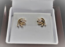 .20pt Diamond Flower Swirl Earrings 14kt Yellow Gold