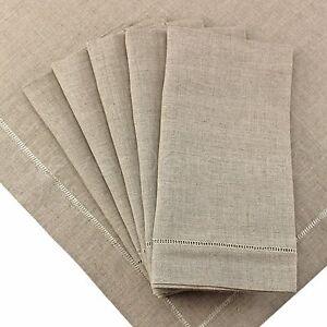 "6 Pack - Natural Linen Hemstitch 20"" Dinner Napkins - 20"" - Embroidery Monogram"