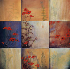 """36W/""""x36H/"""" RIGHT ACTION I by CHRIS DONOVAN NINE PATCH FLORAL POPPY CANVAS"""