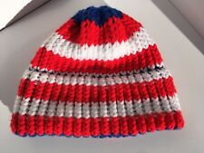 Vintage NEW Handmade KNITTED CROCHETED Beanie Hat Cap Red White Blue One Size
