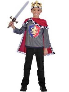 Child Royal King Arthur Boys Fancy Dress Medieval Knight Crusader Kids Costume