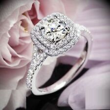 Certified 2.35Ct Round Cut Diamond Double Halo Engagement Ring in 14K White Gold