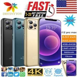 "i12 Pro max 6.53"" Face ID Smart phone Android10 4+64GB 5600mah New GoodGift New"