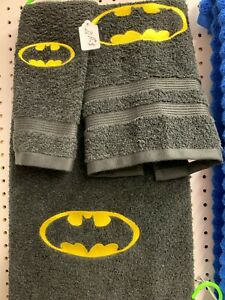 3 Piece BATMAN  Bath Towel Set- FREE PERSONALIZATION on Bath and Hand Towels!!