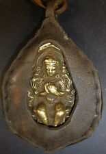 Tibetan bronze MAITREYA Buddha portable ghau amulet. Covered in YAK LEATHER