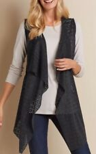 Soft Surroundings Long Black Vest Lagenlook Cascading SZ L,XL,1X $90 NEW!