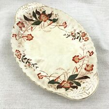 Large Victorian Aesthetic Ironstone Serving Bowl Dish Hand Painted 19th Century