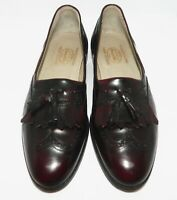 Churchs Mens Leather Penny Tassel Loafers Burgundy Brown Leather Patent Size 8