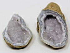 Agate Geode Pre Cracked Pair, Break Your Own, Quartz Crystal Natural Specimen