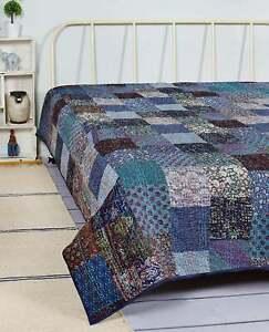 New Vintage Silk Bohemian Blue Patchwork Quilt Kantha Handmade Quilts Twin Throw