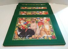 """Pimpernel Cats Christmas Holiday Cork Backed Place-mats 16""""X12"""" Made England (4)"""