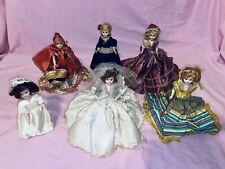 Lot Of 6 Vintage Plastic Dolls In Beautiful Dresses