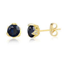September Yellow Gold Black Sapphire Cubic Zirconia Stud Earrings Wedding-Gift