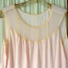 Women's VINTAGE Lingerie Nightgown 1950s Nylon Lace Pink 34 P