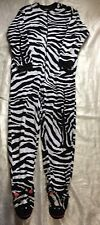 Nick And Nora Size Small Zebra One piece Footed Pajamas Pj Lounge