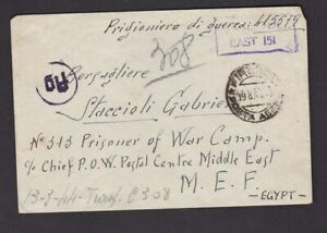Egypt Italian cover to POW Gabriel Staccioli in camp 313 MEF from Firenze 1943