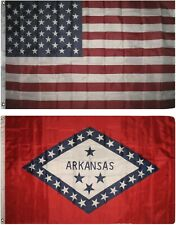 Wholesale Combo Lot of 3x5 Usa Flag & State of Arkansas 3x5 2 Flags Banner