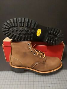 RED WING MEN'S  2497 ROUGHMECK ROUND TOE LUG BROWN BOOTS SIZE: 7.5