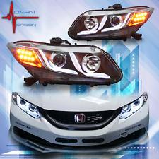 2012-2015 WINJET Honda Civic 4Dr Sedan LED DRL Bar Projector Headlights BLACK
