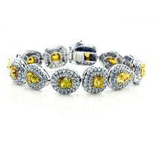 Echt 18.69ct Natürlich Kostüm Gelb Diamanten Armreif 18K Solid Gold