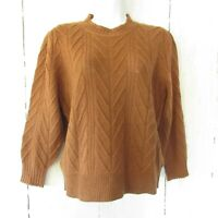 New Joie Sweater Size Large Caramel Brown Wool Cashmere Puff Sleeve Pullover