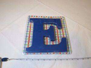 """8"""" E letter WOOD KIDKRAFT room wall decoration blue hang or stand NOS kids baby"""