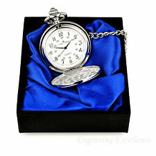 Personalised Engraved Silver Pocket Watch/Chain Satin Gift Box Set Wedding Gift