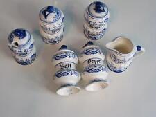 Vintage Arnart Blue Onion Salt Pepper Jelly Jam Sugar and Creamer- 6 Pieces