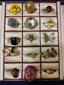 Mixed Costume Jewellery Bundle Job Lot Vintage and Modern Rings & Clip Earrings.