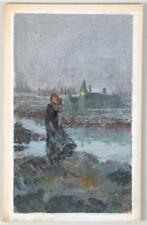 Darrell Greene illustration sketches of woman by the shore W/ Castle in backgrou