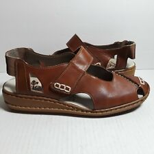Reiker Antistress Brown Leather Sandals Shoes Strap Closed Toe  Size 39