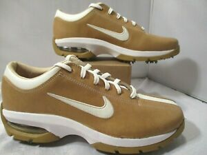 Nike Air Golf Shoes Giddy Up 307422 211 Women's Leather Golf Tan White Size 7