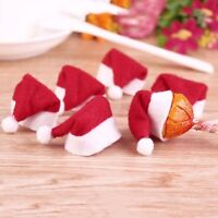 10 x Tiny Folded Novelty Santa Hats. Christmas Xmas Table Decoration Bottle