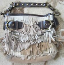 Coach Limited Edition Fringe Tan Suede Metallic Tote Bag Purse 9155