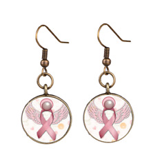 Time Gems ribbon pendant earring breast cancer Pendant Earrings 1 pair