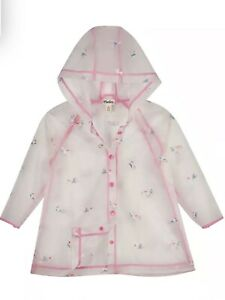 Girls Hatley Unicorn 🦄 Clear, Hooded ☔️ Raincoat Age 6 Great Condition Rrp £36