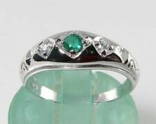 CRISP 9CT 9K WHITE GOLD COLOMBIAN EMERALD & DIAMOND GYPSY TRILOGY RING FREE SIZE
