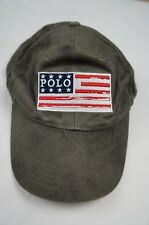 Rare Vintage POLO RALPH LAUREN USA Flag Patch Pony Spell Out Hat 90s Gray Green