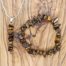 Tiger's Eye Gem Chip Pendant Necklace & Bracelet Gift Set Grounding Protection