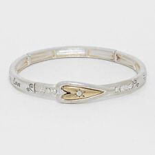 Faith Love Hope Stretch Bracelet GOLD Religious Heart Inspirational Jewelry