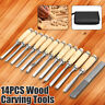 14 Piece Wood Carving Hand Chisel Tools Set Professional Woodworking Rolling  !