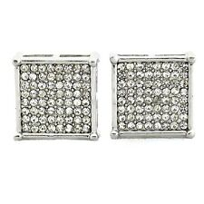 Huge 15mm Hip Hop Earrings Silver Tone 4 Square Prong Iced-Out Micropave Bling