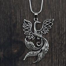 Phoenix Fire Bird Pendant Necklace Silver Color Chinese Amulet Talisman Jewelry
