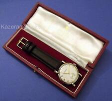 VINTAGE Orologio Uomo Garrard 17 gioiello 9 Kt SOLID GOLD Orologio da polso di lavoro & Box 1965