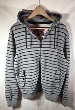 Ben Sherman Men's Gray Black Striped Zip Up Long sleeve Hoodie Sweatshirt Size L