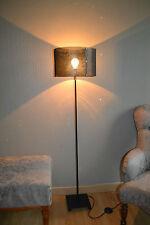 Lampadaire en acier et tôle perforée laqué noir mat - Design 50'S